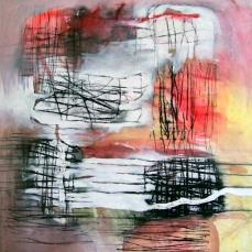 """""""Verschmähte Liebe"""", 2000, Acryl und Linoldruck auf Leinwand"""