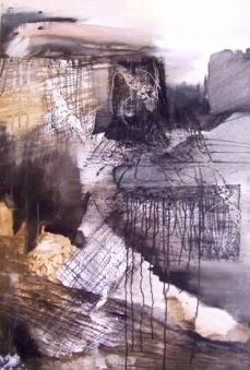 """""""Horizont"""", 2000, Acryl und Linoldruck auf Leinwand"""