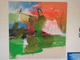 """""""Ausblick"""", 2013, Acryl und Bleistift auf Leinwand, 115 x 115 cm"""