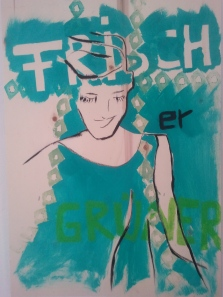 """""""Frisch"""", 2013, Mischtechnik auf Holz, 60 x 43 cm"""